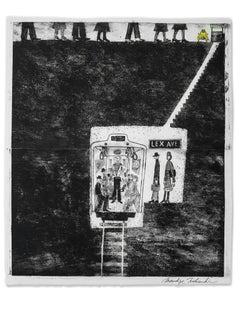 Lex Ave, Intaglio print depicting NYC Lexington Ave subway scene