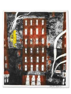 Boutique, Unique intaglio on watercolor paper, cityscape w/ taxicab, red & black