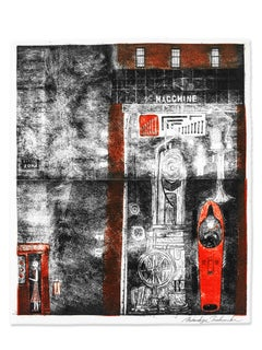 Macchine, Original Intaglio Black, White & Red, Japanese Paper, Telephone Booth