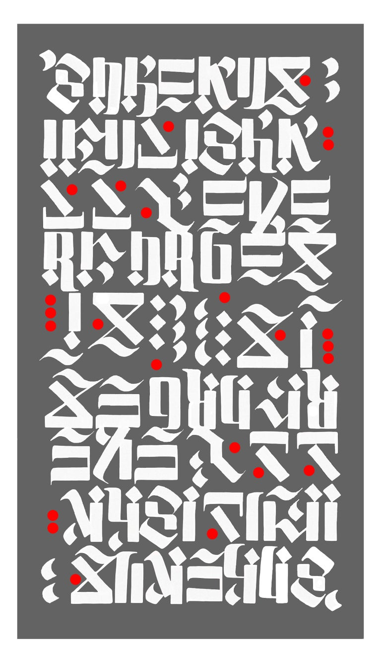 David Oquendo Abstract Print - So Beautiful I Shall Never Forget It -Grey, white, red calligraphy- Oquendo
