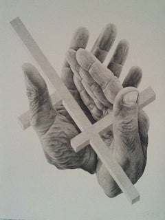 Higuereta, unique ink drawing of hands and geometric object