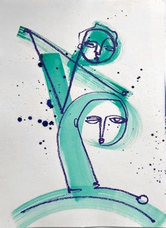 Partnership, Teal and Navy Blue abstract figures on paper by Alice Mizrachi