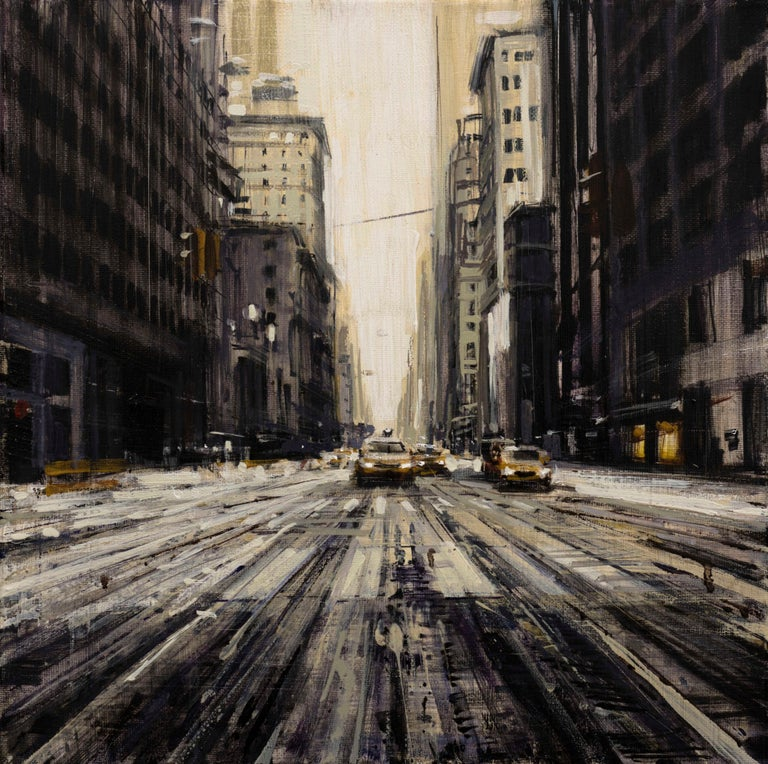 Valerio D'Ospina Landscape Painting - Snowy Street in NYC