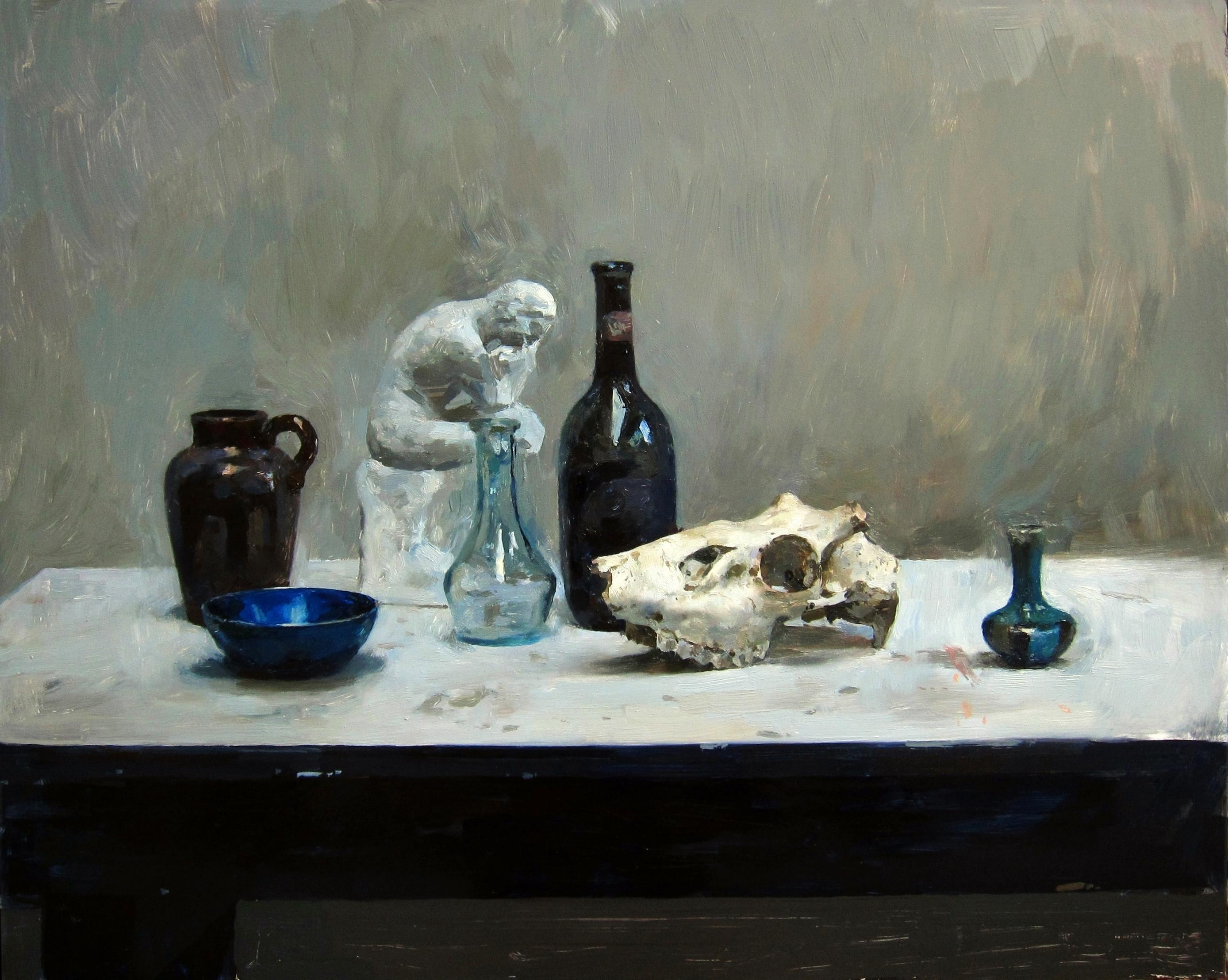 Still Life with Bottle and Skull