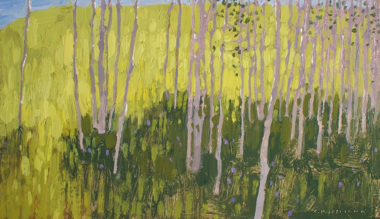 David Grossmann Landscape Painting - Morning Light and Aspen Shade , Oil Painting