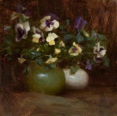 Yellow and Purple Pansies, Oil Painting