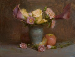 Yellow Roses and Purple Lilies, Oil Painting