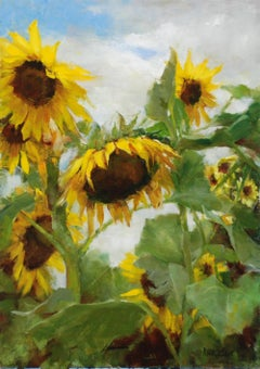 Blue Skies and Sunflowers, Oil painting