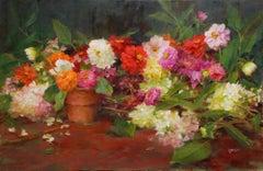 Hydrangeas with Zinnias and Dahlias, Oil painting