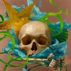 Party Skull #3, Oil Painting