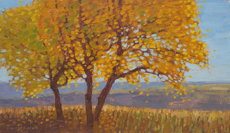 David Grossmann Landscape Painting - Cottonwoods with Changing Autumn Leaves , Oil Painting