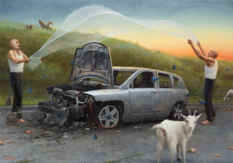 "Elizabeth Zanzinger Animal Painting - ""Bones"", Oil Painting"