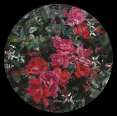 """Shrub Roses"", Oil Painting"