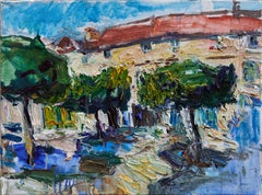 """""""The Central Square of Ravières"""" Oil painting"""