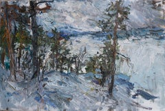 """""""Looking over the Frozen Lakes (Finnish Lapland)"""" Oil painting"""
