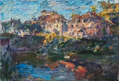 """""""Last light by the Armançon Canal"""" Oil painting"""