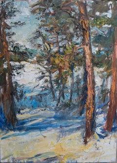 """At Sunrise Winter Scene"" Oil painting"