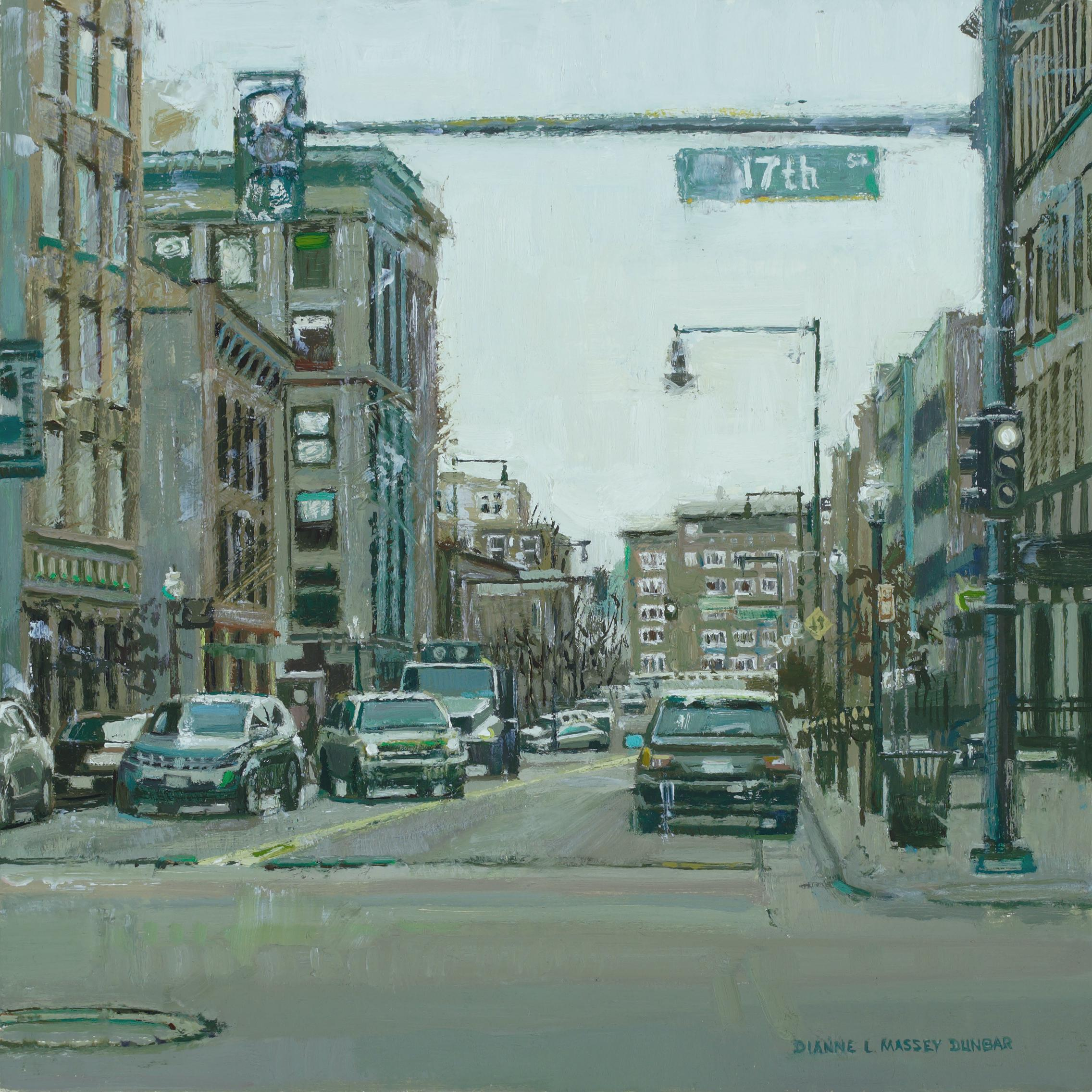 """""""Cityscape in Green"""", Oil Painting"""