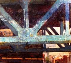 """Bridge Blue"" Encaustic painting"