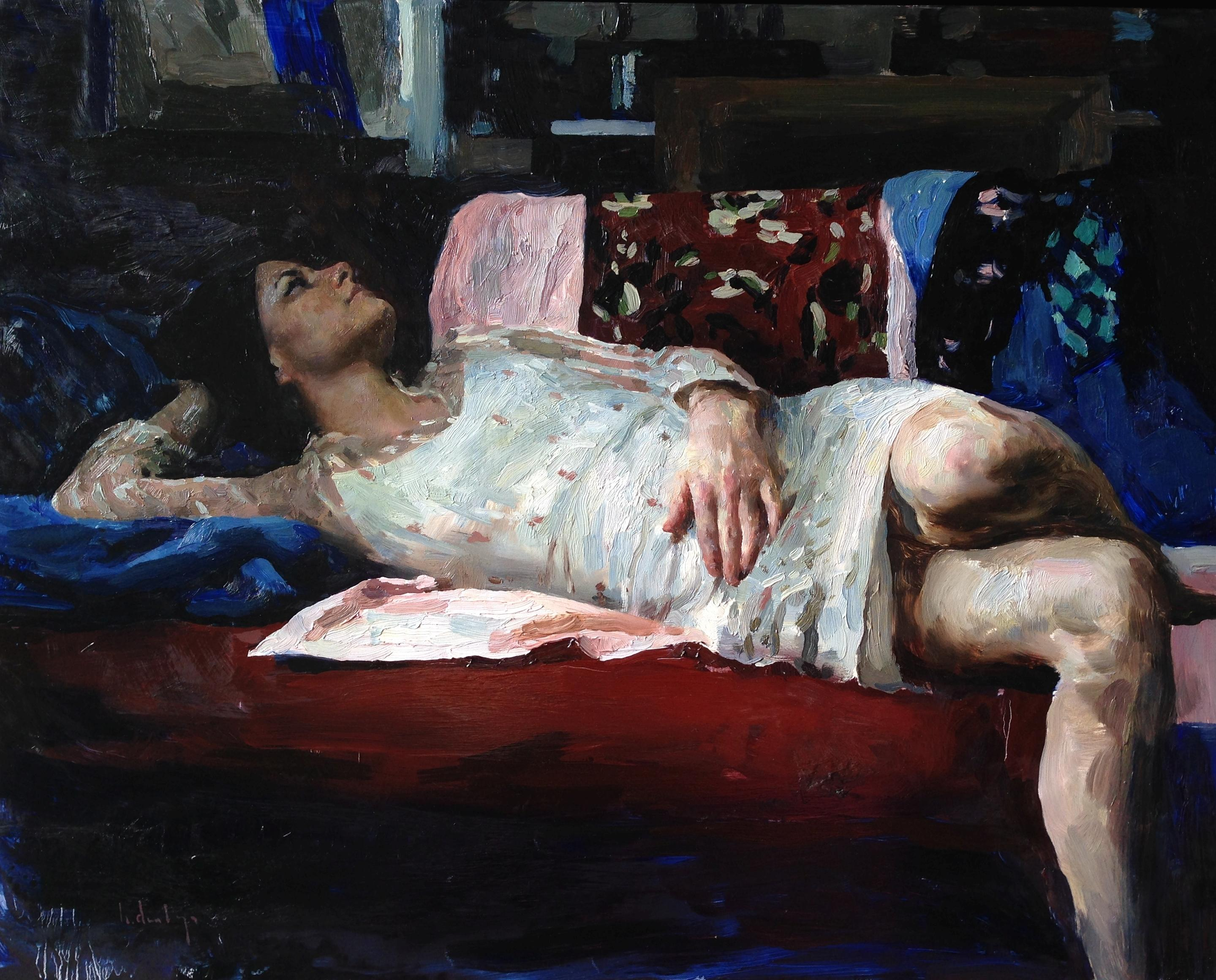 """""""Susan in red, white and blue,"""" Oil painting"""