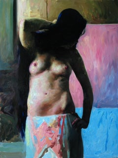 """""""Pink and blue silhouette,"""" Oil painting"""