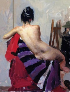 """""""Nude with Purple Stripes,"""" Oil painting"""