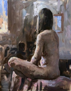 """""""Figure in Summer,"""" Oil painting"""