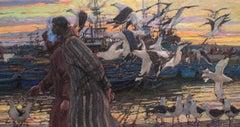"""Harbor Conversation"" Oil painting"