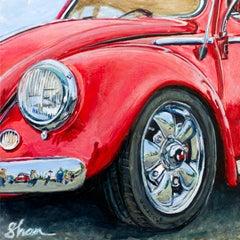 """Crimson Volkswagen,"" Acrylic painting"