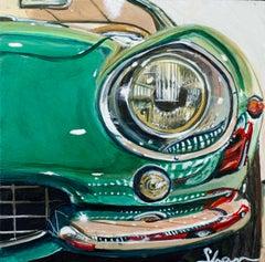 """Green Dino,"" Acrylic painting"