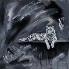 """""""White Tiger"""" Oil Painting"""