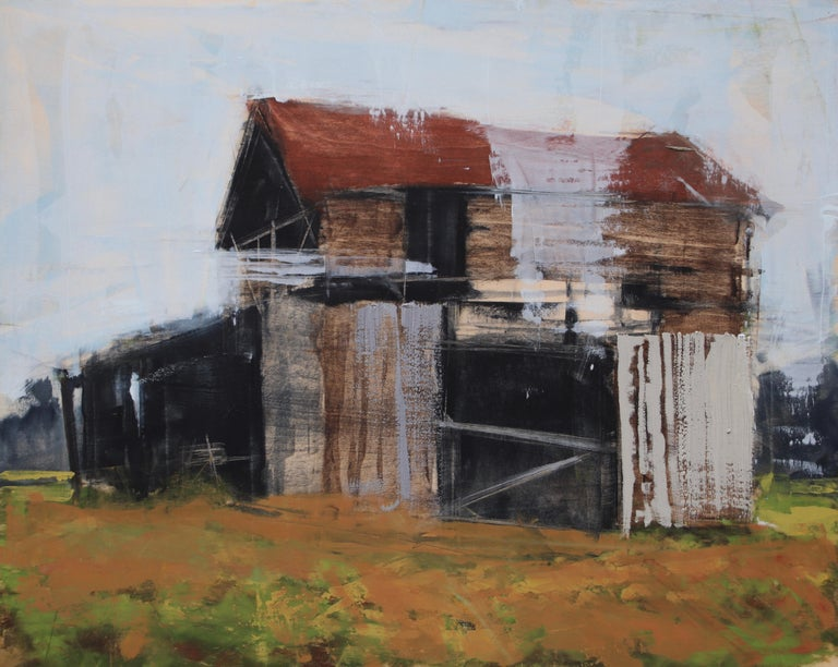 "Stephanie Hartshorn Landscape Painting - ""Barn Wood"" Oil Painting"