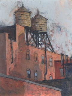"""""""Water Tower Shadow,"""" Mixed Media Painting"""