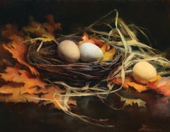 """Two Bird's Nest,"" Oil Painting"