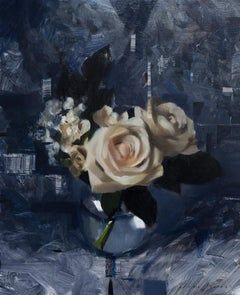 White Roses and Dark Blue, Oil painting