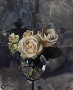 White Roses and Dark Grey, Oil painting