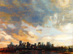 Denver Skyline Beneath the Afternoon Storm, Oil painting