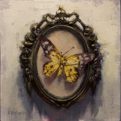 The Yellow Day Flying Moth, Oil painting