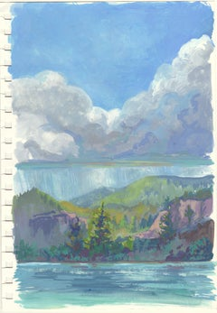 """""""Study: Storm On The Lake,"""" Gouache on paper painting"""