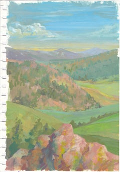 """""""Study: Pink Boulder And The Valley,"""" Gouache on paper painting"""
