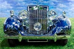 """1937 Rolls Royce Phantom III Parkward Sedan cadeVille,"" Acrylic painting"