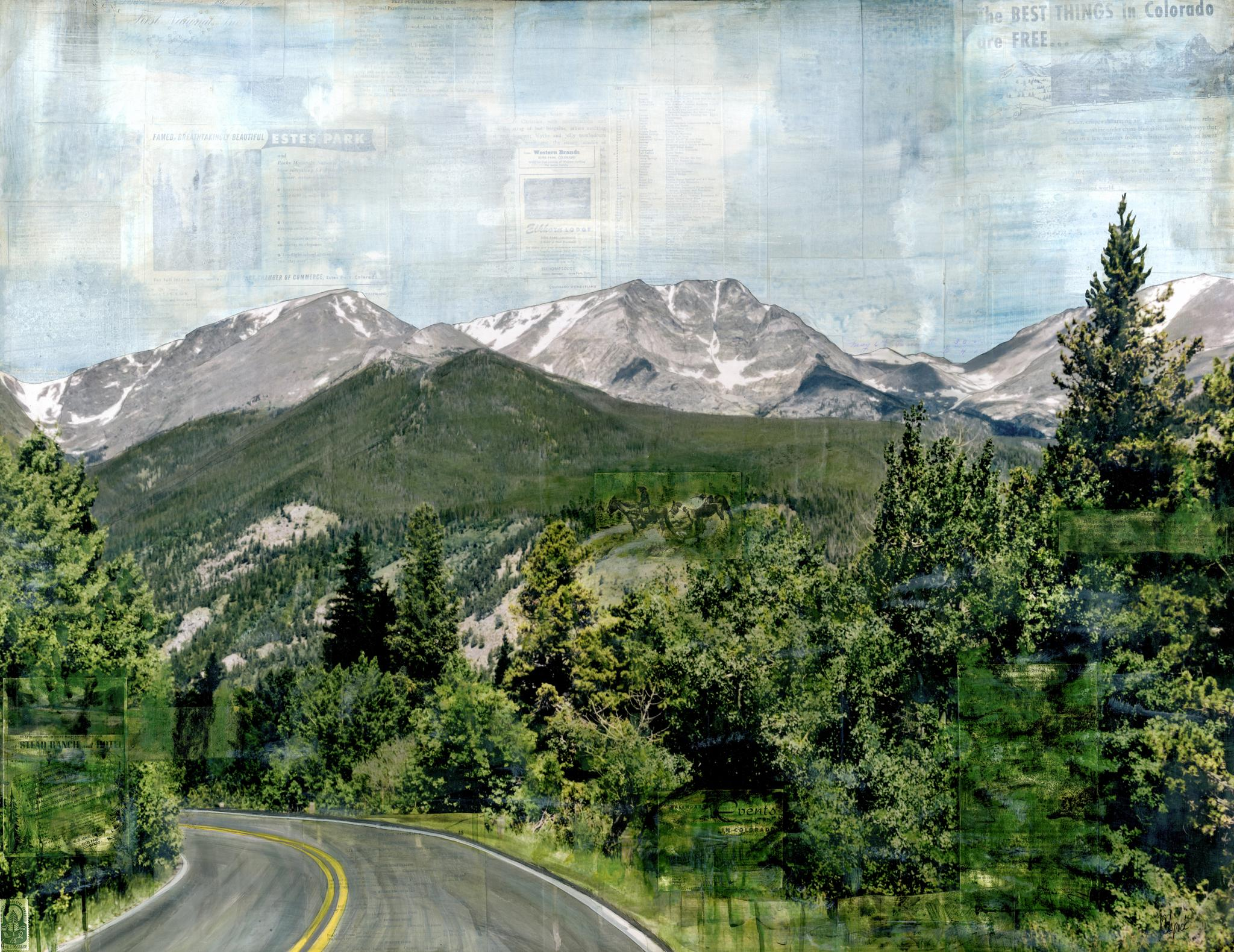 """""""RMNP Down to Fall River,"""" Mixed Media Painting"""