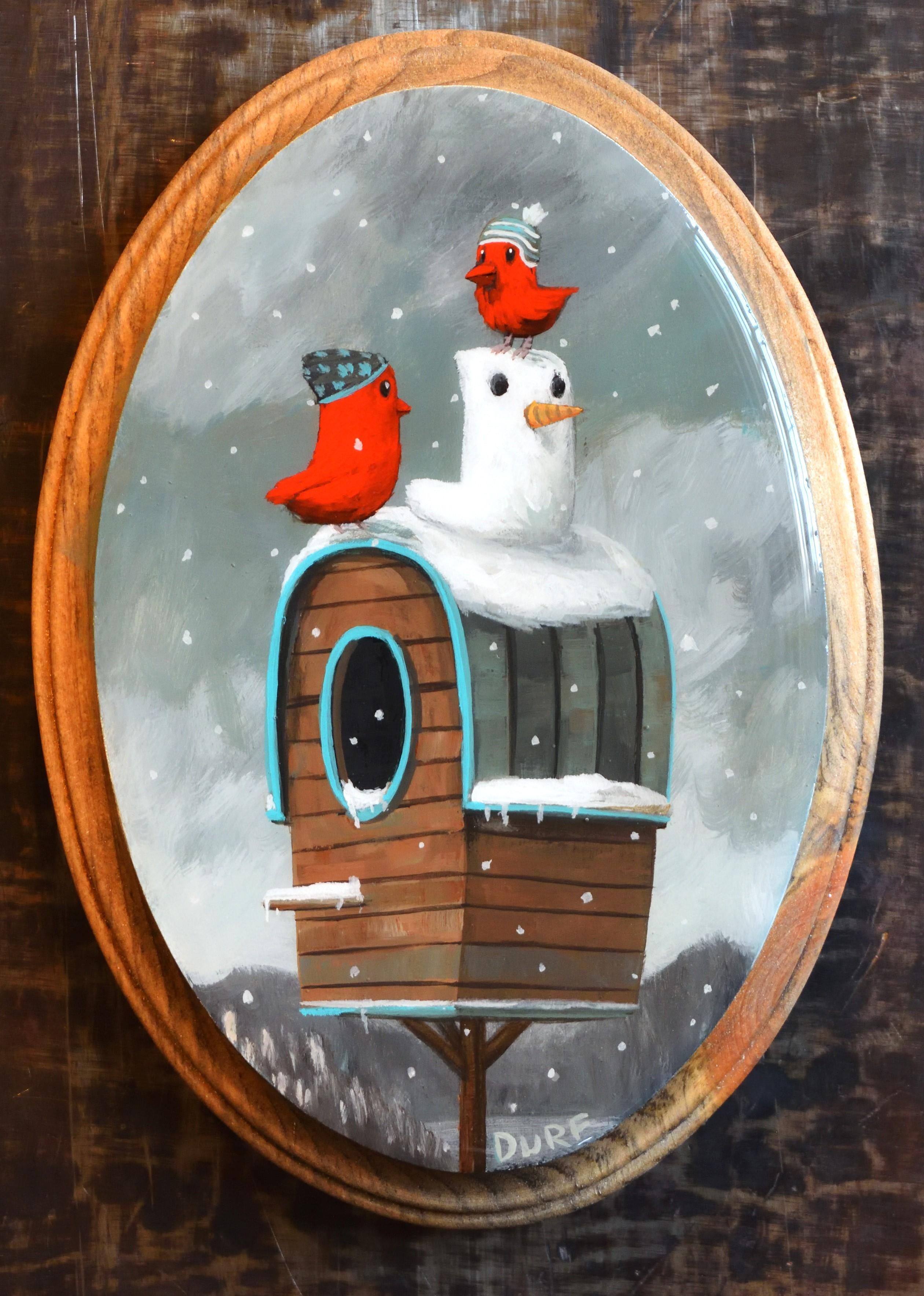 """Making Snowbirds"" Mixed Media painting"