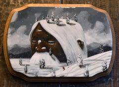 """Slumbering by the Snowfall"" Mixed Media painting"