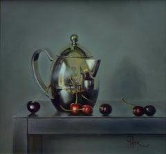 """Cherries and Tea"" Oil Painting"