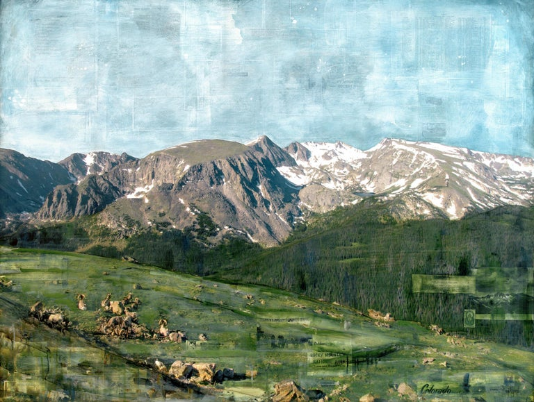 "JC Spock Landscape Painting - ""RMNP Bighorn & Big Views"" Mixed Media Painting"