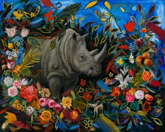 """Rhino"" Oil Painting"