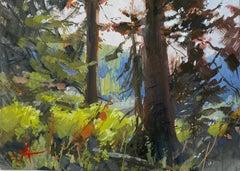 """Through the Trees"" Gouache Painting"
