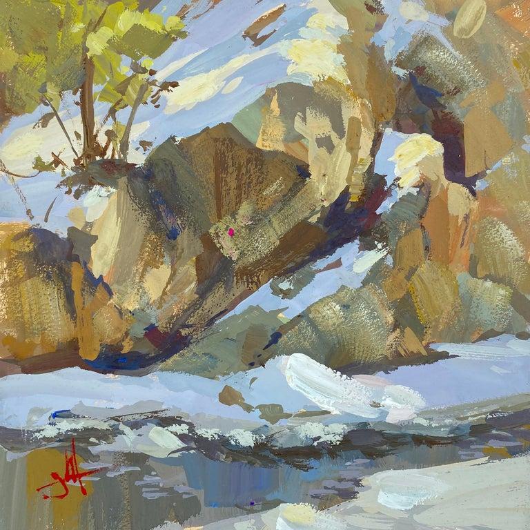 "Judd Mercer Landscape Painting - ""Snow Light"" Gouache Painting"