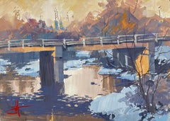 """""""Cold Overpass"""" Gouache Painting"""